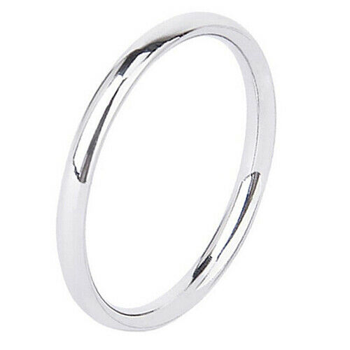 DI- 2mm Unisex Couple Stainless Steel Fit Plain Wedding Band