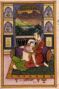 Mughal-Emperor-with-Mughal-Empress-Enjoying-Love-Fine-Miniature-Painting