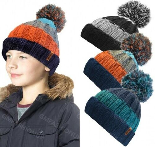 Kids Boys Ribbed Thermal Insulating Pom Pom Bobble Hat Teddy Warm Fleece Lining