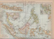 c. 1890 SINGAPORE INDONESIA PHILIPPINES BRUNEI MALAYSIA NEW GUINEA  Antic Map