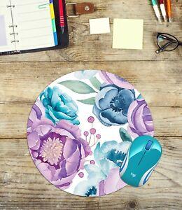 Round Mouse Pad Watercolour Flowers Easy Glide Non Slip Neoprene