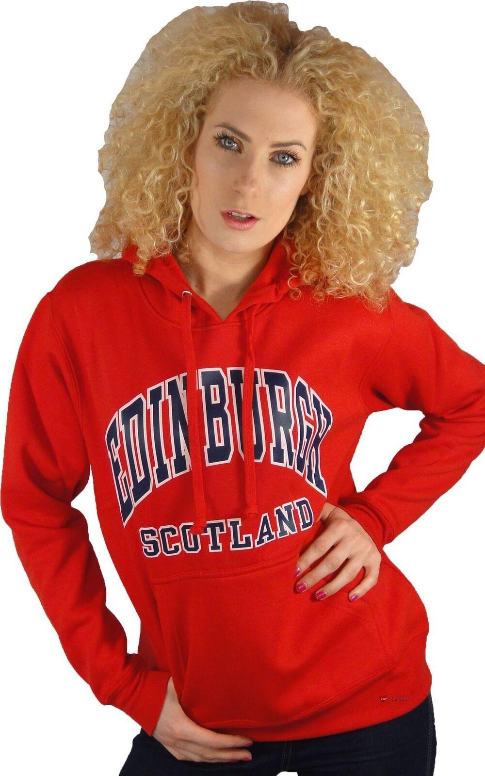 Felpa con Cappuccio da Donna Top Edimburgo Scozia rosso Medium