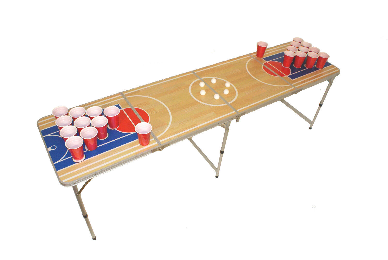 Bière Pong Table, Beer Pong Table Incl. Ensemble de règles, 6 balles et 22 Cups, 2