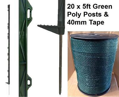 """156cm Tall Electric Fence 4ft 6/"""" Fencing Stake Horse 20 X GREEN 5FT POLY POSTS"""