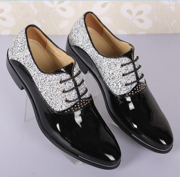 Men Pointy Toe Lace Up Fashion Formal Patent Leather Groom Glitter Wedding shoes