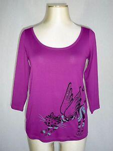 40 4 De Chat Chacok T shirt Neuf Ailé Motif T 38 M Violet Manches 3 U8TZO08