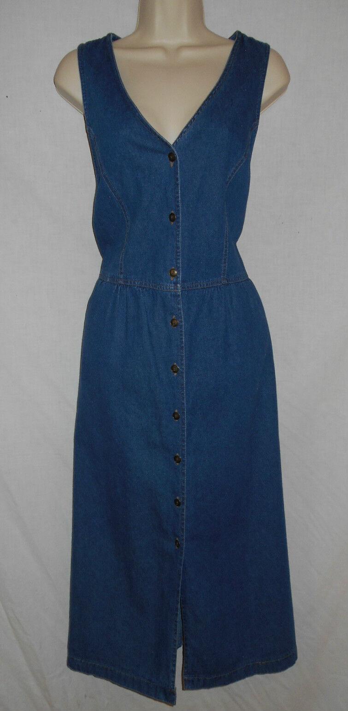 Denim Jumper Dress 8 Womens SMALL Truly Yours Sport bluee Sleeveless Cotton 6r81