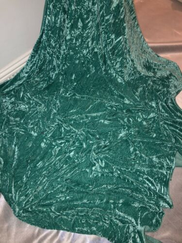 """1 mtr sea green ice crushed velvet fabric.58"""" wide-upholstery,dress,cushions etc"""