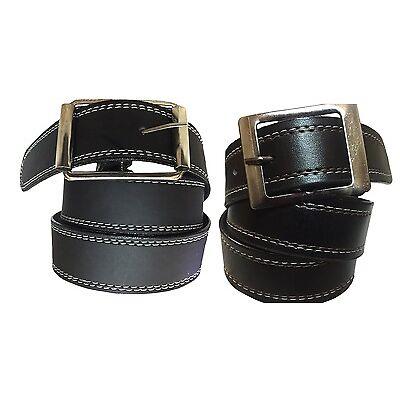 Combo of Men's Belt Black color white stitching & Red Stitching Belt Lightweight