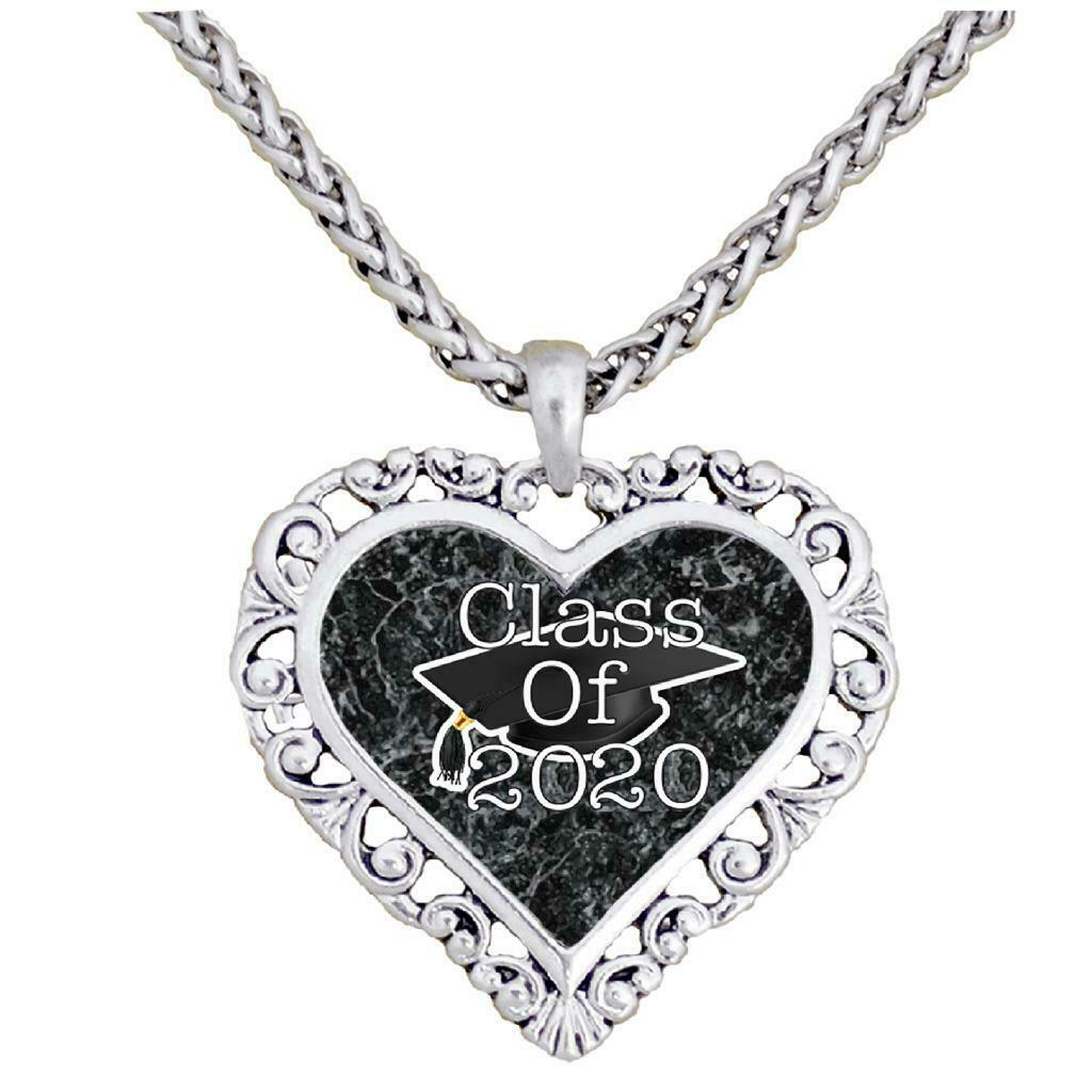 Graduation Hat Class of 2020 Silver Heart Necklace Pendant Jewelry Senior Gift