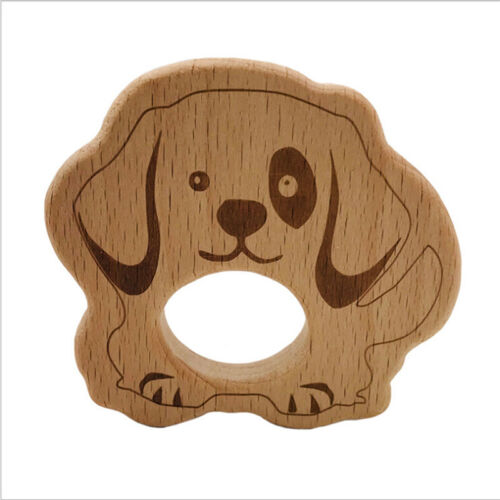 Wooden Safe Natural Cute Animal Shape Ring Baby Teether Teething Shower Toy JI