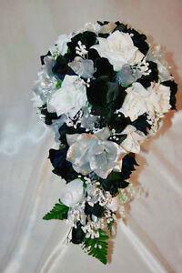 Black White Silver Bridal Bouquet Package Silk Rose Wedding Flower ...