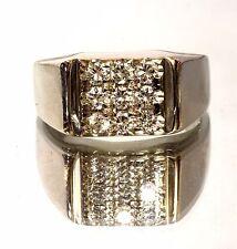 14k white gold 1ct mens round diamond cluster ring 8.3g estate vintage antique