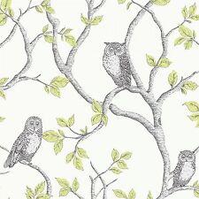 New Fine Decor Woodland Trees Wallpaper FD40637-Birds Owls Forest Green / Silver