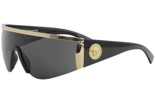 Authentic VERSACE Shield Sunglasses VE2197 1000//87 Gold-Black Grey Lens