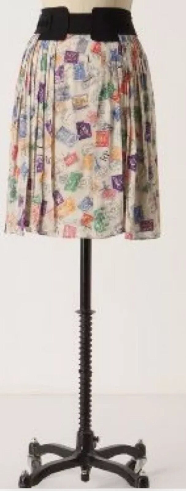 Anthropologie Edme & Esyllte Air Mail Skirt Postage Stamp Size 4