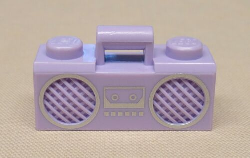 x1 NEW Lego Minifig Radio Lavender Boom Box with Handle and Silver Trim Pattern
