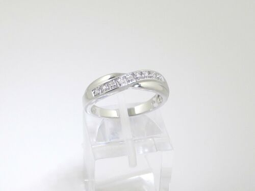 W ANNIVERSARY GIFT STERLING SILVER DIAMOND CHANNEL SET ETERNITY RING SIZE H