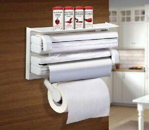 Porta-rotolo-parete-carta-pellicola-alluminio-mensola-dispenser-cucina-rotoli