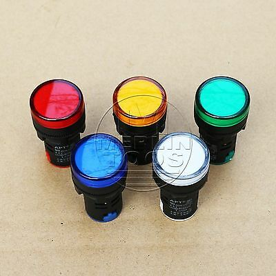 5Pcs 24V LED Indicator Pilot Signal Light Lamp Red Green Blue Yellow White
