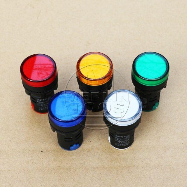 5Pcs 24V LED Indicator Pilot Signal Light Lamp Red Green Blue Yellow White
