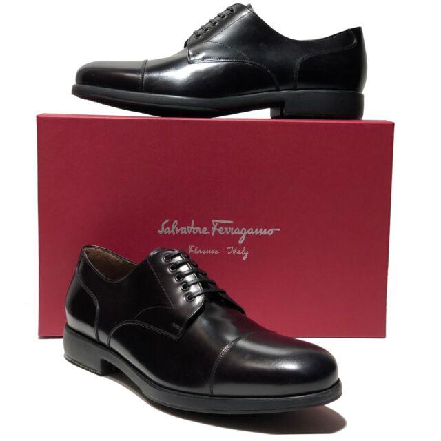 NEW Ferragamo LARRY Leather Captoe Luxury Oxford Men s Black Dress Shoes  Formal 03d66ef6ae92