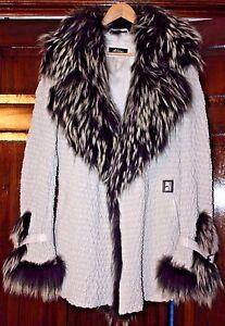 Designer-Akhesa-Black-amp-White-Leather-Fur-Coat-Rare-Jacket-Size-M-NEW-Was-1800