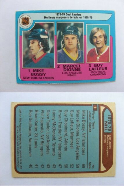 1979-80 OPC O-Pee-Chee #1 Bossy/ Dionne/Lafleur goal leaders   islanders #2