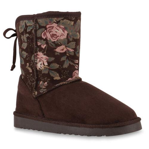 Warm Gefütterte Damen Stiefeletten Blumen Schlupfstiefel Boots 813662 Trendy Neu