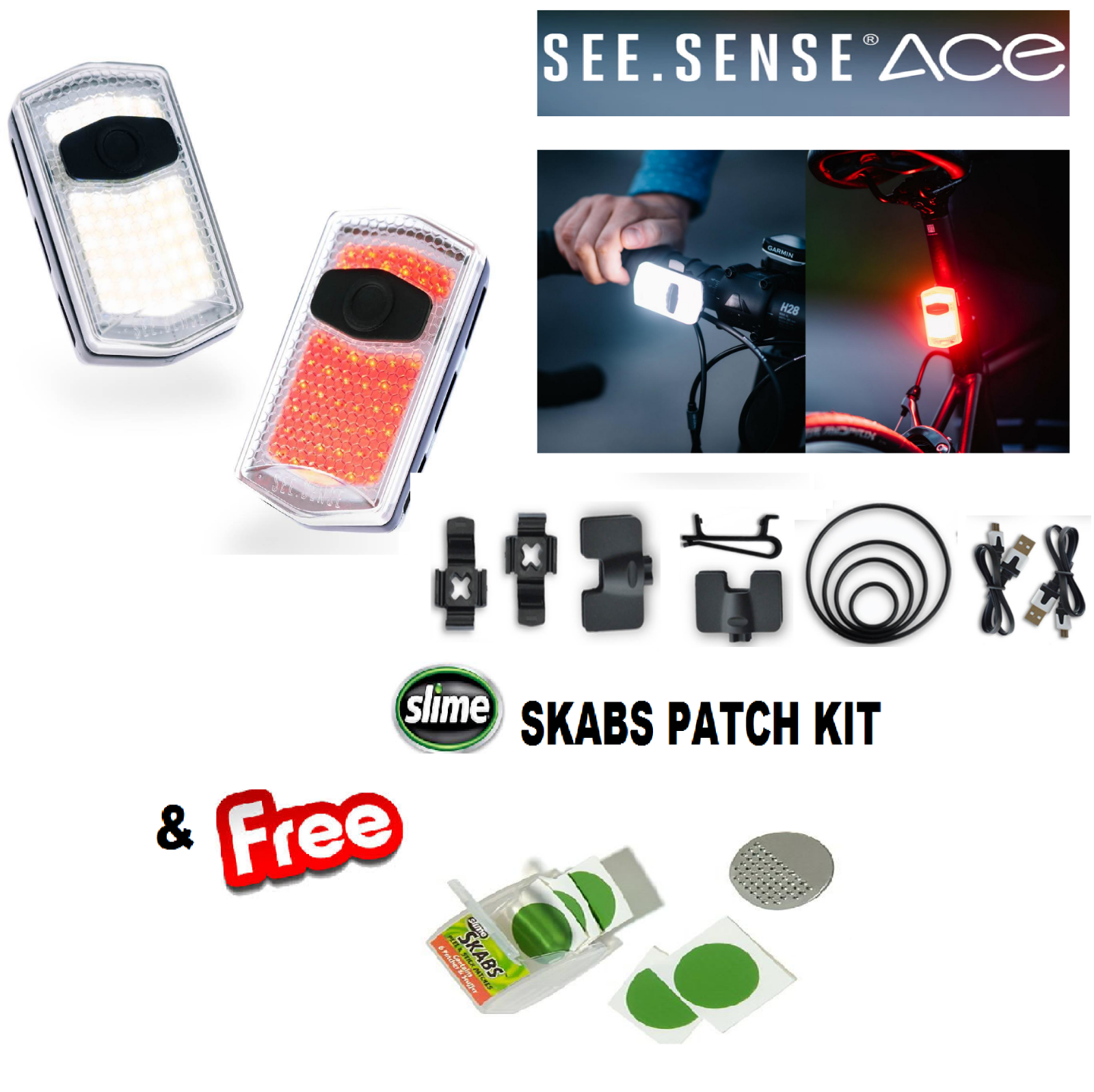 Vedere. Sense Ace anteriore anteriore anteriore e posteriore Set CICLISMO SMART Luci & Slime Skabs Kit Patch db3e65