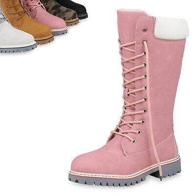 Damen Worker Boots Warm Gefütterte Stiefel Profil Winterstiefel 820181 Top | eBay
