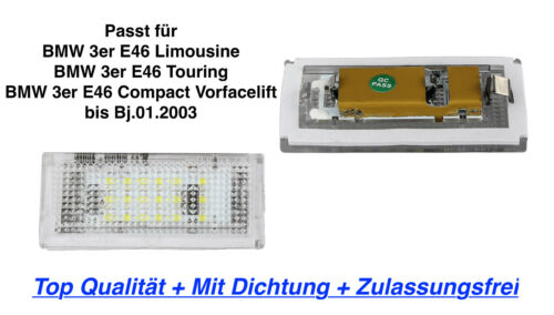 2x TOP LED Kennzeichenbeleuchtung Mit Dichtung BMW 3er E46 Limousine 330xd