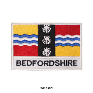 BEDFORDSHIRE-County-Flag-With-Name-Embroidered-Patch-Iron-on-Sew-On-Badge