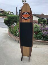 Kona Brewing Wood Surfboard Chalkboard Beer Bar Pub Sign Mirror ?New?