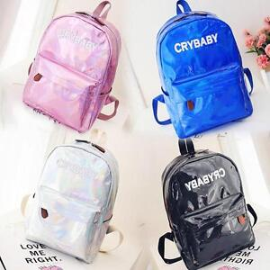 Women-039-s-Laser-Cry-Baby-Backpack-Hologram-Holographic-School-Bookbag-Tote