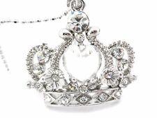 Princess Queen Crown Pendant Women Heart Crystal Necklace New