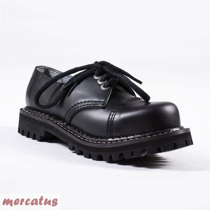 Angry Itch - 3-agujero Gothic punk Army Ranger ejército zapatos de piel con tapa de acero