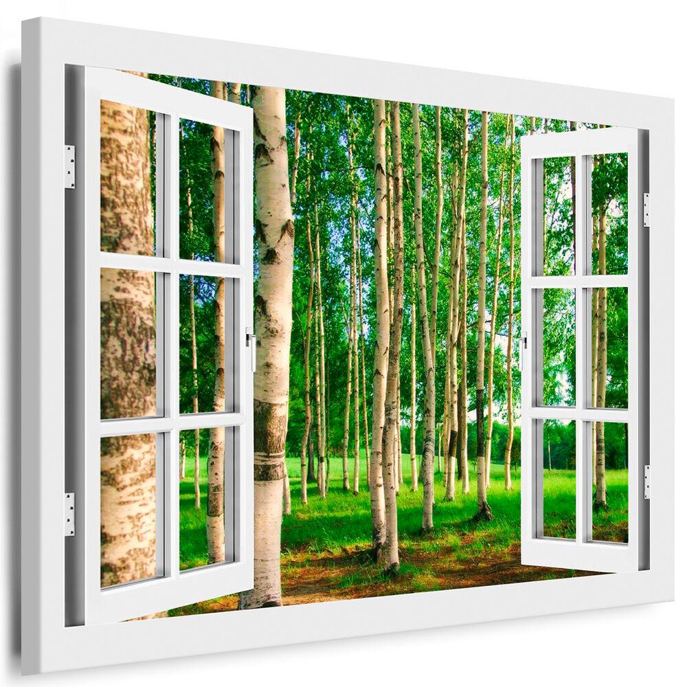 Bild auf Leinwand - Fensterblick Wald - AA0276
