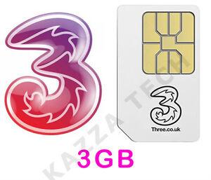 5 X Trois Payg Carte Sim Avec 3 Go Gratuit Données Pré-chargés