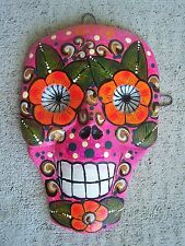 Day of the Dead Painted Skull Papier Mache Mask, Pink with Flowers - Mexico