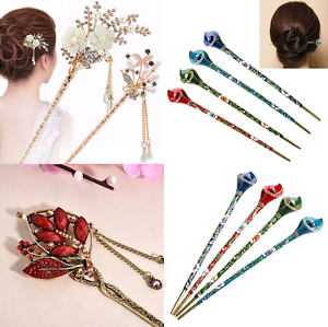 Multi Styles Women Retro Rhinestone Flower Hairpin Stick Hair Pin Accessories