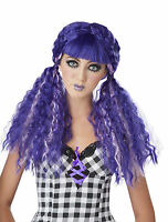 Turquoise Purple Baby Doll High Cosplay Crimped Curls Wig Broken Creepy Monster