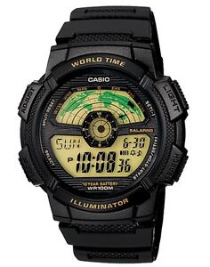 Casio-Watch-AE1100W-1BV-World-Map-Black-amp-Gold-Resin-Ivanandsophia-COD-PayPal