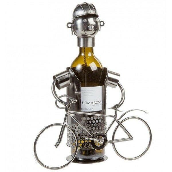 Cyclist Standing W Cycle Metal Wine Bottle Holder Kitchen Table Ornament Décor Ebay