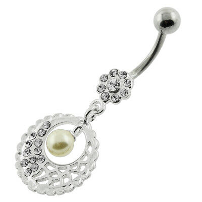 Surgical Steel Body Piercing Jeweled Belly Ring w// Hanging Angel Charm