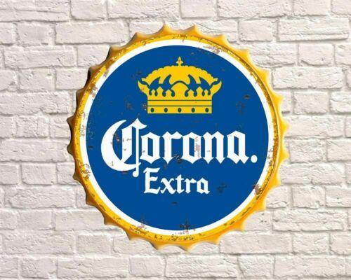 30cm VINTAGE RETRO CORONA EXTRA BEER METAL BOTTLE TOP WALL SIGN