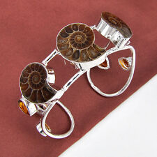 Gorgeous Natrual AMMONITE Gemstone Silver Charming Bracelet 2 1/2 Inch