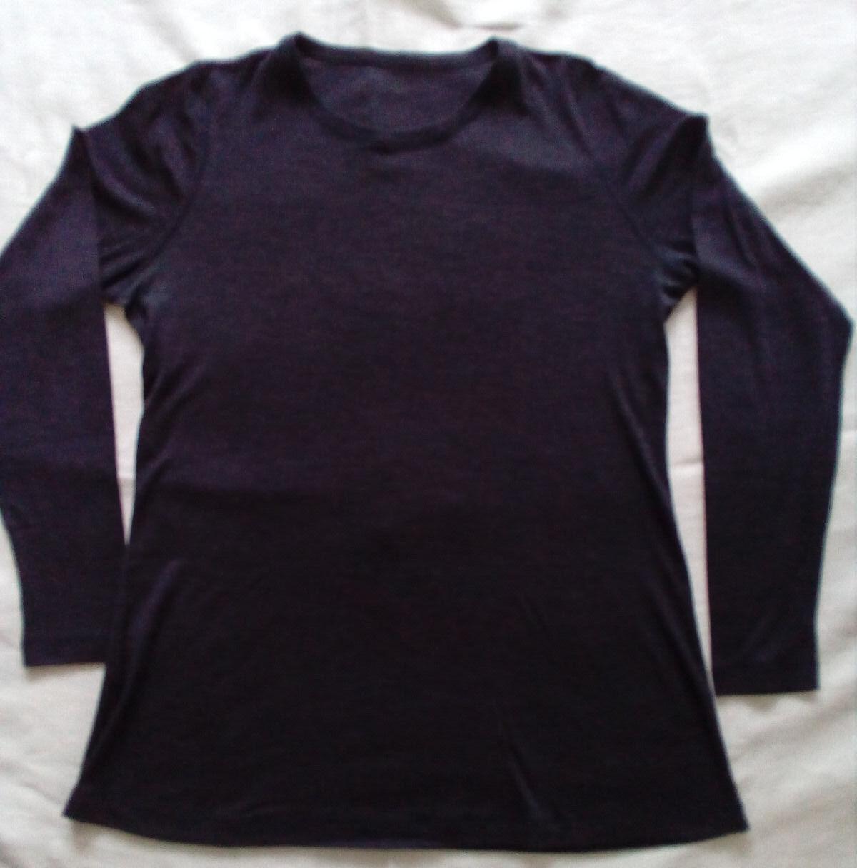 Tunika Shirt - Wolle - dehnbar  - anthrazit - Lagenlook - im Rundholz Beutel