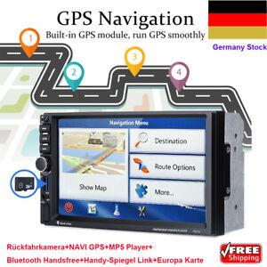 Rueckfahrkamera-7-Zoll-Autoradio-2-DIN-Navi-GPS-MP5-Player-Bluetooth-Europa-Karte