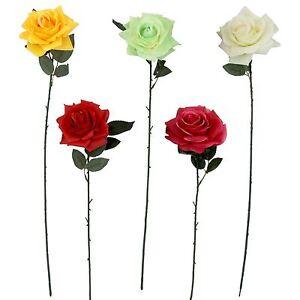 Large Plastic Premium Open Rose Fake Flowers Silk Single Stem